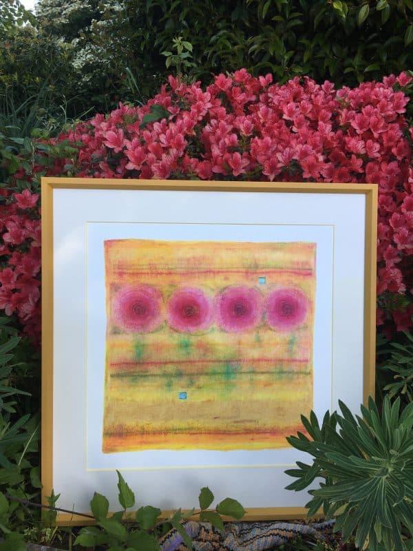flowers iin gold art by Marcela Joy